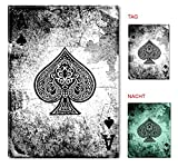 Startonight Wall Art Canvas Lucky Poker Ace of Spades, Black & White Glow in the Dark, Dual View Surprise Artwork Modern Framed Ready to Hang Wall Art 23.62 X 35.43 Inch 100% Original Art Painting