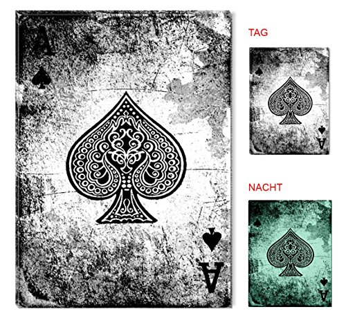 Startonight Wall Art Canvas Lucky Poker Ace of Spades, Black & White Glow in the Dark, Dual View Surprise Artwork Modern Framed Ready to Hang Wall Art 23.62 X 35.43 Inch 100% Original Art Painting by Startonight