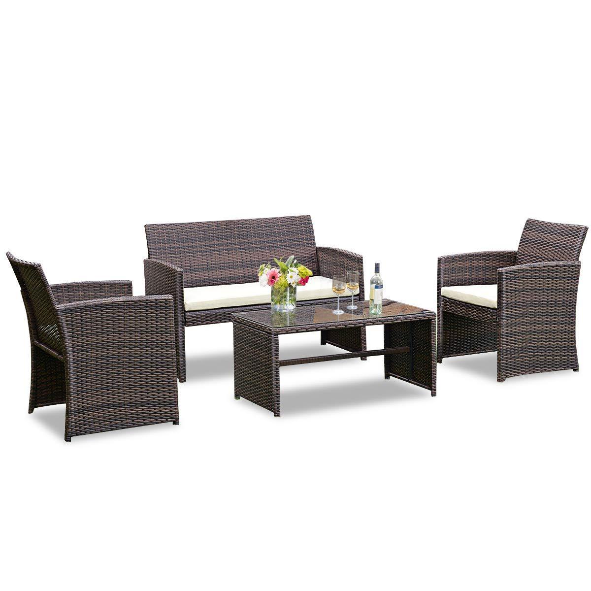 Goplus 4-Pieza Rota Patio de Muebles de jardín al Aire Libre del ...