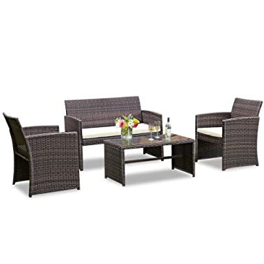 Goplus 4-Piece Rattan Patio Furniture Set Garden Lawn Pool Backyard Outdoor Sofa Wicker Conversation Set with Weather Resistant Cushions and Tempered Glass Tabletop (Mix Coffee)