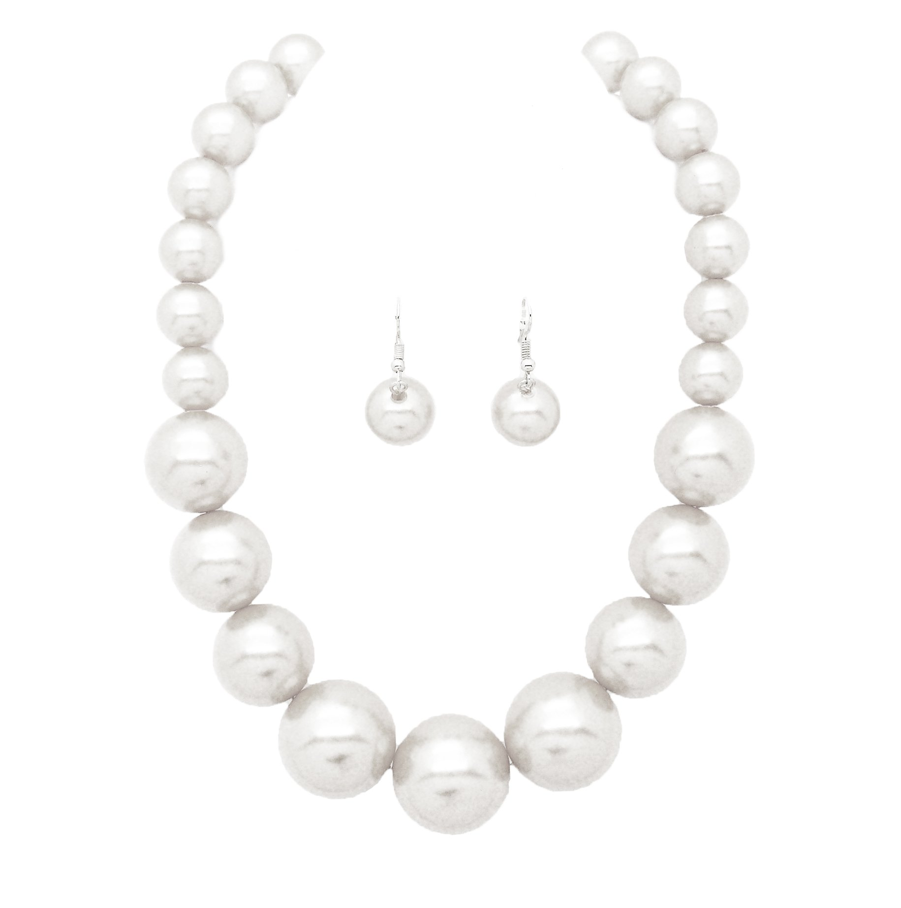 Women's Large Big Simulated Pearl Statement 18'' Necklace and Earrings Set (White)