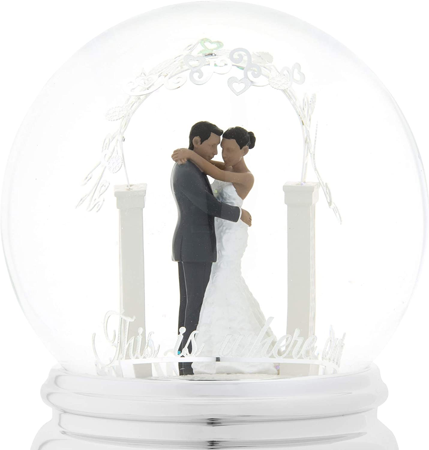 Perfect Wedding Home Decor Valentines Gift QTKJ Wedding Couple Kissing Musical Snow Globe with Color Changing LED Lights