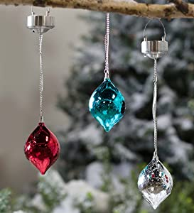 Plow & Hearth Color Changing Mercury Glass Solar Ornaments, Set of 3-3 W x 4.25 H