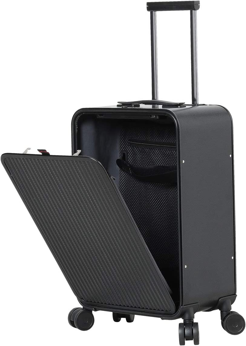 Carry On Aluminum Luggage, All Aluminum Hard Shell Cabin Luggage Suitcase With TSA Lock Spinner Wheels Weave texture Black, 20 inch