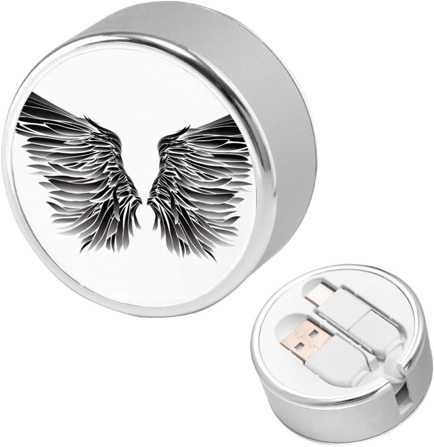 Charging Cable Round USB Data Cable Can Be Charged and Data Transmission Synchronous Fast Charging Cable-Angel Wings On White Black and Style Abstract Angel Animal Bird Creative Curve Dove-01