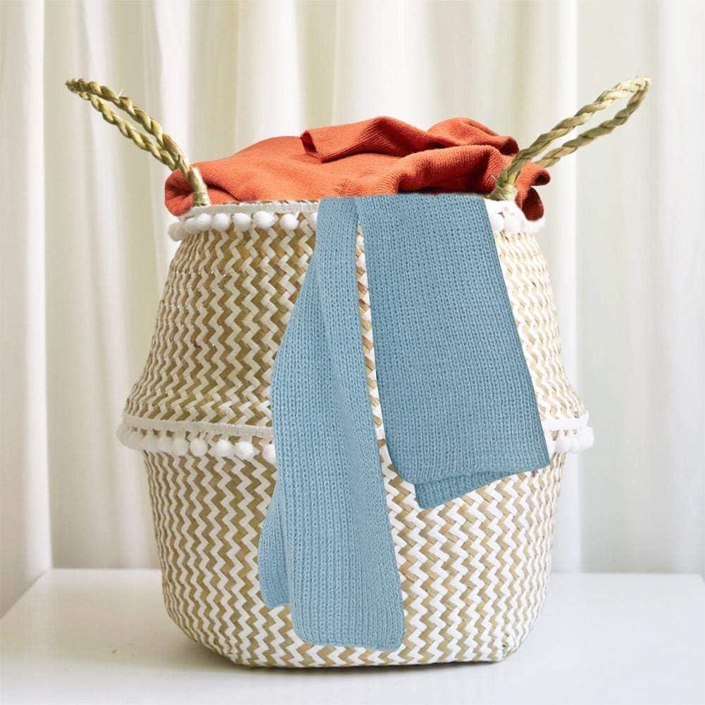 precauti Cesta de Almacenamiento Tejida a Mano con asa Almacenamiento Cesta Sucia de lavanderia cesto Plegable Seagrass Cesta de cesteria de Mimbre Decoracion para la Colada Flores Plantas Juguetes