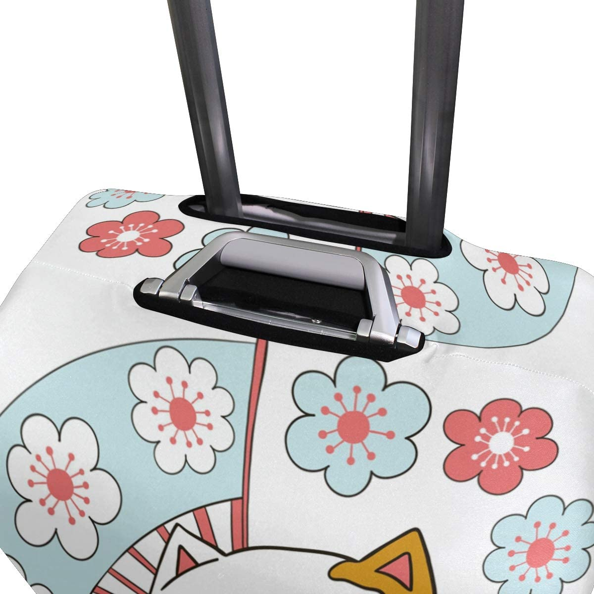 Travel Luggage Cover Cherry Blossom Lucky Cat Suitcase Protector Baggage Case Dustproof Stretchy Fits 22-24 Inch