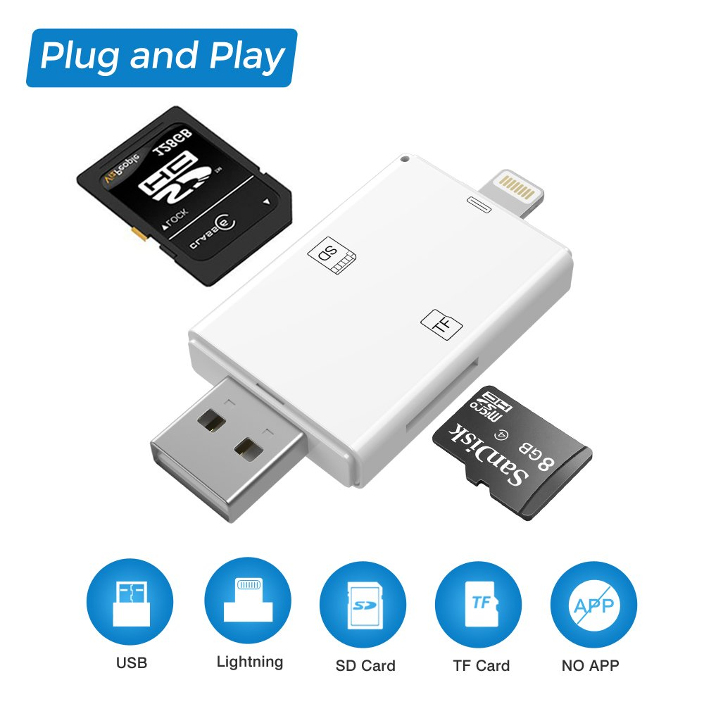 Card Reader, SD Card Reader Adapter, 2 in 1 Lightning & USB Memory Card Reader Camera Viewer for TF/SD Card, Support iPhone & PC & Laptop