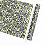 floral shelf liner adhesive - Self Adhesive Blue Vintage Floral Pattern Contact Paper Shelf Liner for Cabinets Shelves Drawer Arts and Crafts Decal 17.7x78.7 Inches