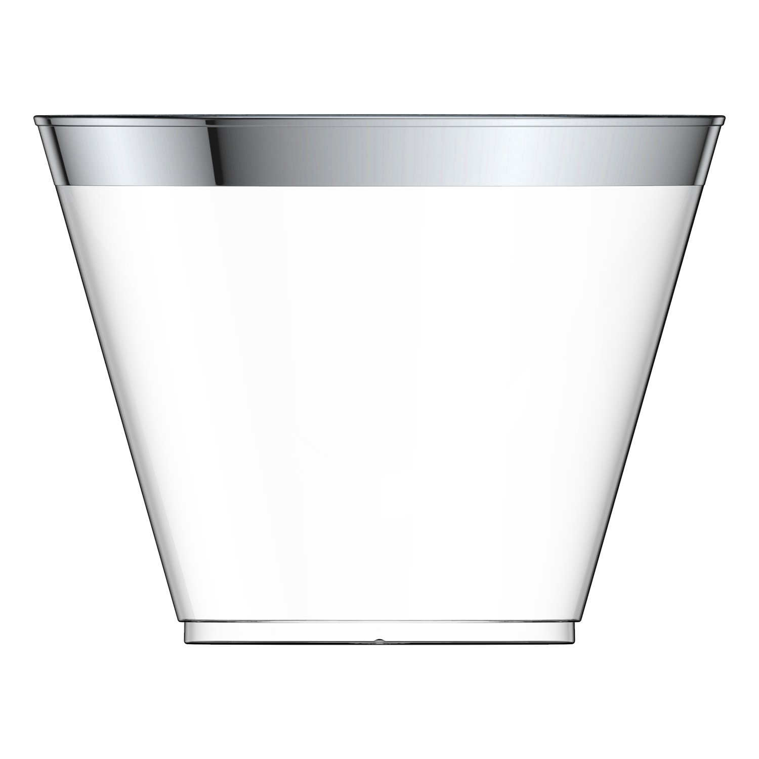 100 Silver Plastic Cups 9 Oz Silver Rimmed Tumblers Clear Plastic Cups Disposable Cups For Wedding Party