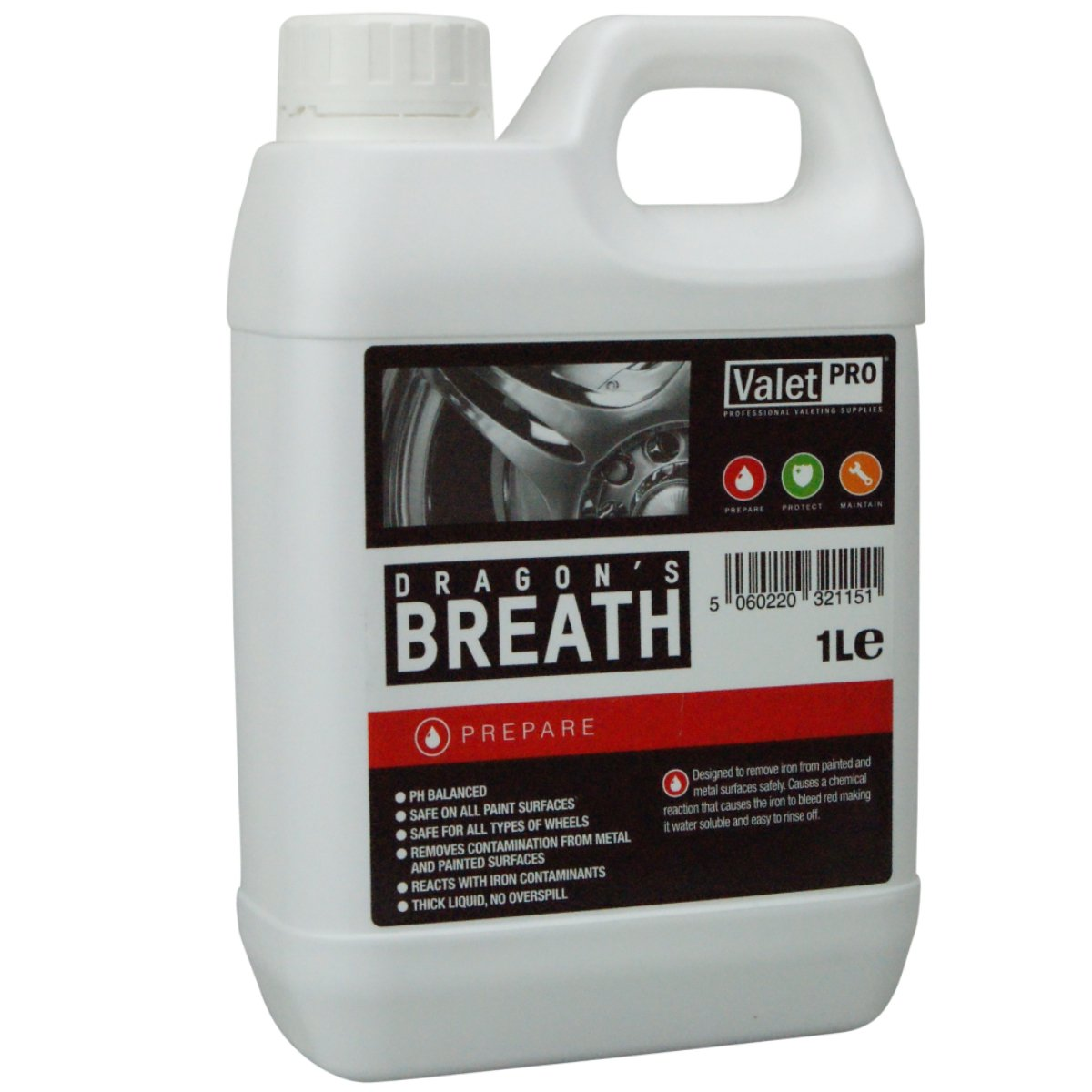 Valet PRO Dragon s Breath solvente per rimuovere  contaminazioni di ferro, (1 litro)