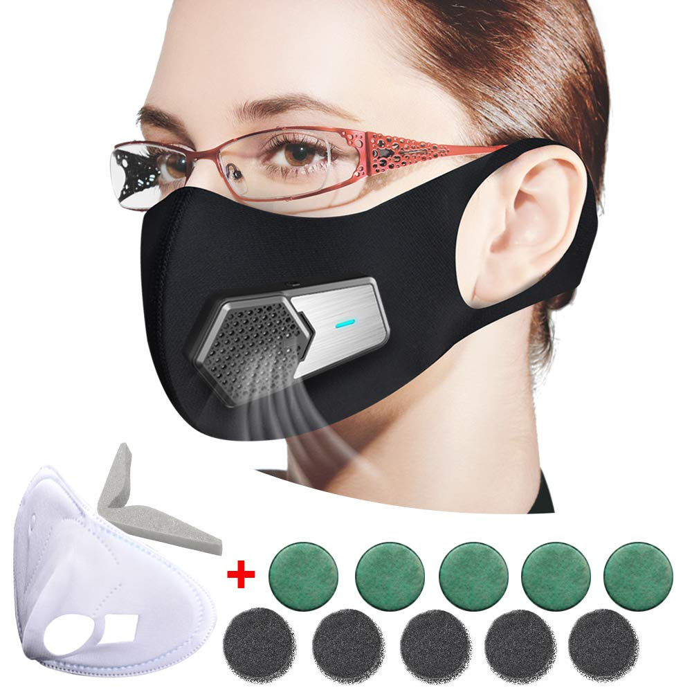 Smart Electric Mask, Mini Portable Air Purifier, Anti Pollution Mask Military Grade N95 Washable Respirator with Adjustable Straps for Exhaust Gas/Pollen Allergy / PM2.5/Running/Outdoor Activities by Fuster