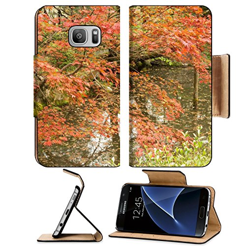 Luxlady Premium Samsung Galaxy S7 Flip Pu Leather Wallet Case IMAGE ID 31354708 Red maples planted on the shore and reflection in a Japanese garden near Heian - Shrine Heian Garden