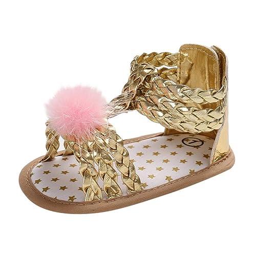 Sandalias de bebé niña pequeña | Elegantes Lindos Pompones Lentejuelas Suelas Suaves Zapatos Antideslizantes Zapatos