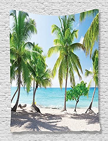 Palm Tree Tapestry Beach Decor by Ambesonne, Palm Leaves and Catalina Island Seashore Coastal Panoramic Picture, Bedroom Living Kids Girls Boys Room Dorm Accessories Wall Hanging Tapestry, Blue - Christmas Tree Tapestry