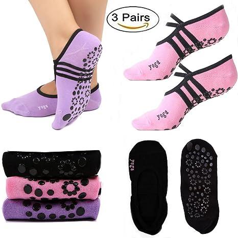 Calcetines antideslizantes con agarre para yoga y pilates ...