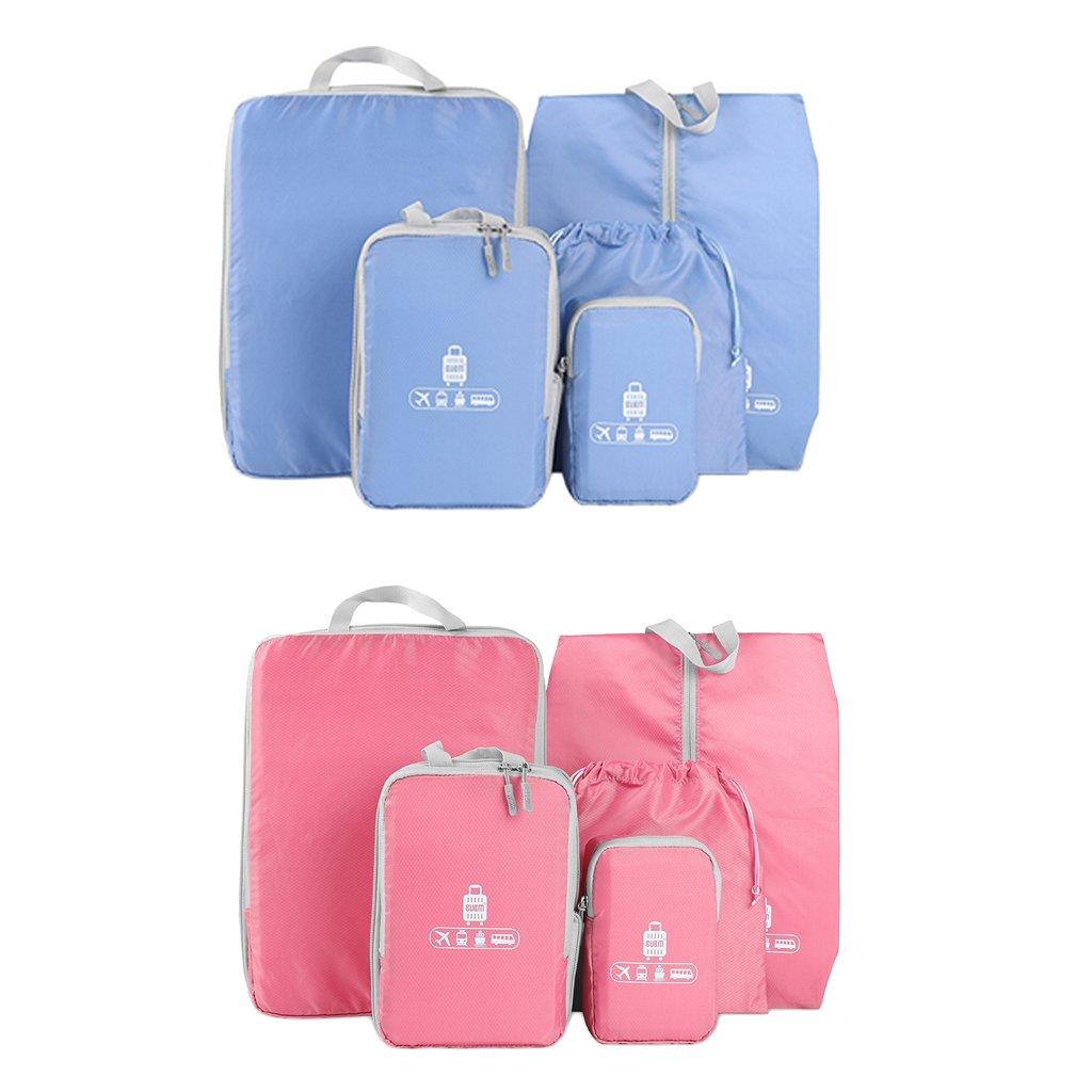Jiliオンラインレッド+ブルー5ピーストラベルオーガナイザー荷物ストレージバッグClothesスーツケース   B078Q35QQL