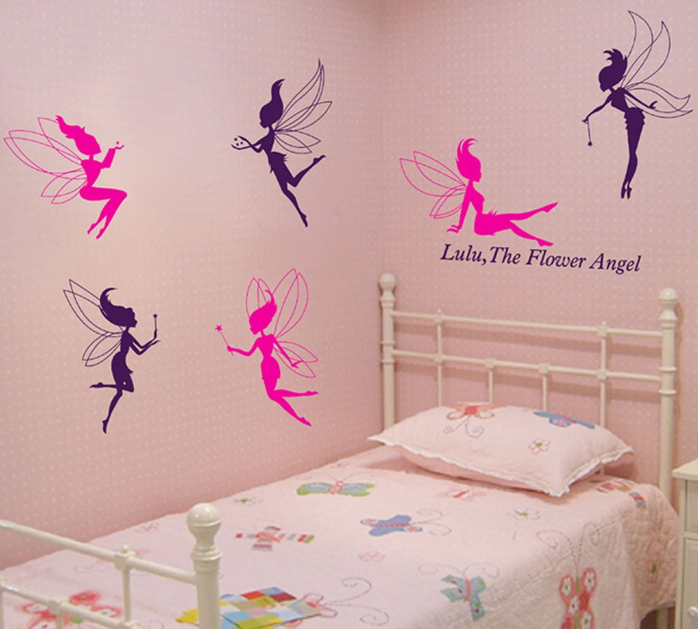 Flower Fairy Angel Pattern PVC Vinyl Wall Stickers Creative Clothing Dance Studio Decor Decals Nursery Children's Room Bedroom Living Room Home Decoration (style 2)