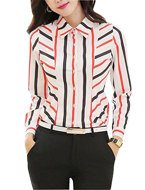 3bc2603171ae7 Double Plus Open DPO Womens Chiffon Slim Long Sleeve Stripe Blouse Office  Shirt at Amazon Women's Clothing store: