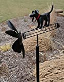 CHSGJY Black Lab Whirligig Dog Wind Spinner Outdoor Art Yard Stake Garden Living Decor