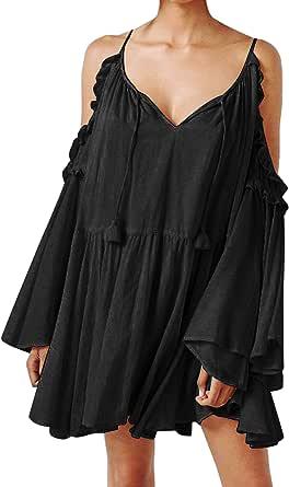 R.Vivimos Women's Cotton Long Sleeve V Neck Cold Shoulder Casual Ruffles Loose Short Dresses