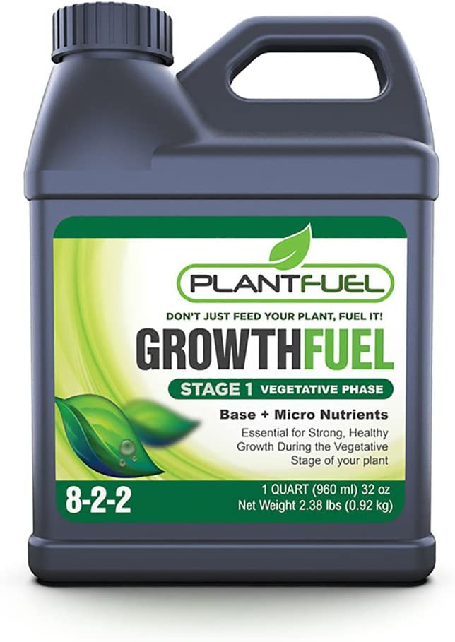Plant Fuel Nutrients | Growth Fuel | Ultra-Premium Liquid Fertilizer for Soil, Hydroponic, and Other Grow Mediums. Formulated specifically for The Vegetative Growth Stage of Your Plant. (Quart Size)