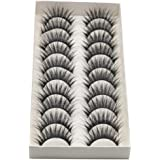 ❤JPJ(TM)❤️_Hot sale 10Pcs Women Thick Long Cross Party False Eyelashes Black Band Fake Eye Lashes (Black)