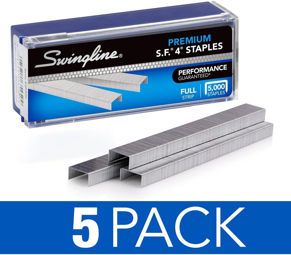 "Swingline Staples, S.F. 4, Premium, 1/4"" Length, 210/Strip, 5000/Box, 5 Pack (35481)"