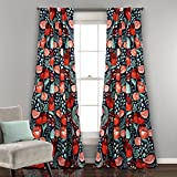 Lush Decor Poppy Garden Window Curtain, Panel Pair, Navy For Sale