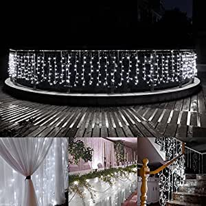 ADDLON Window Curtain Lights,480 Leds Waterproof Christmas Icicle Lights,9 Modes Decorative Wall String Lights for Wedding Home Party Eave Patio Indoor Outdoor 33ftx3ft UL Certification (Cool White)