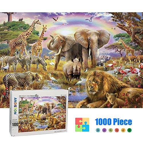 ANDSTON 1000 Piece Wooden Jigsaw Puzzles for Kids Adults, Large Animal Puzzle Educational Intellectual Paintings Puzzle Game Toys Gift for Home Wall Decoration