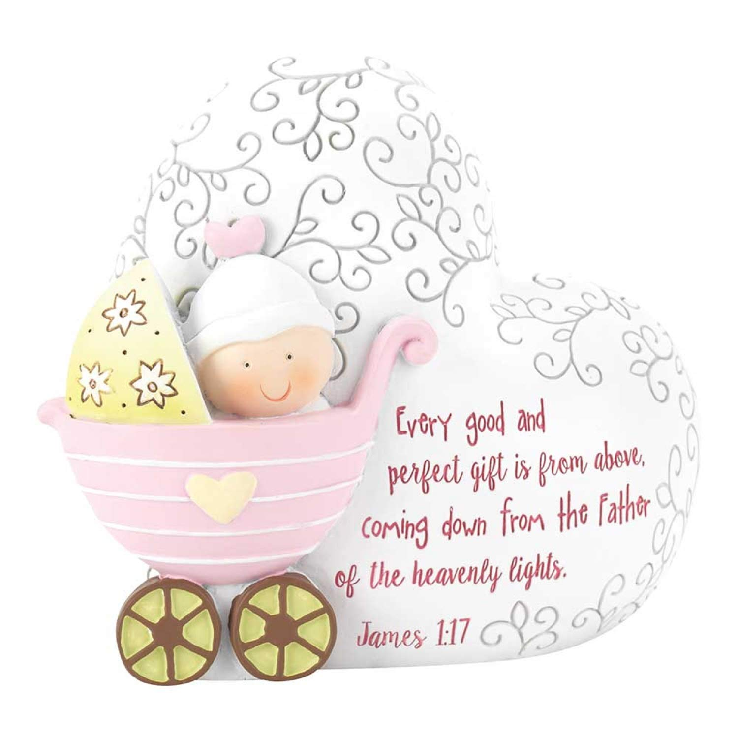 Contemporary Home Living 3.5'' Pink and White ''Every Good is from Above .James 1:17'' Girl Coin Bank by Contemporary Home Living
