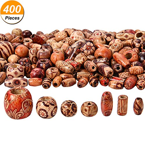 Bememo 400 Pieces Printed Wooden Beads Various Shapes Loose Wood Beads for Jewelry Making DIY Bracelet Necklace Hair Crafts