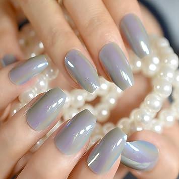 EchiQ - Espejo reflectante para uñas postizas con diseño de bailarina, color gris