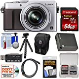 Panasonic Lumix DMC-LX100 4K Wi-Fi Digital Camera (Silver) with 64GB Card, Case, Battery, Flex Tripod and Kit