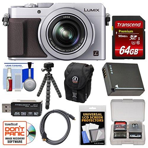 Panasonic Lumix DMC-LX100 4K Wi-Fi Digital Camera (Silver) with 64GB Card, Case, Battery, Flex Tripod and Kit