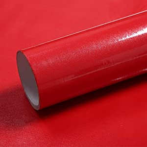 LaCheery 15.8x79in Pearl Red Glossy Contact Paper Decorative Self Adhesive Film Removable Wallpaper Peel and Stick for Covering Countertops Cabinets Wardrobe Drawer Shelf Liner Furniture Makeover