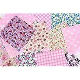 """ASVP Shop® 50 x Patchwork Fabric Square 4"""" 10cm Charm Quilting Bundle Remnant Pack Cotton"""