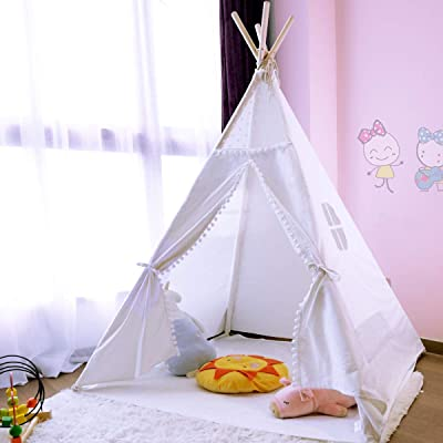 JoyNote Teepee Tent for Kids Indoor Tents with Mat, Inner Pocket, Unique Reinforcement Part - Foldable Play Tent Canvas Tipi Childrens Tents for Girls & Boys: Toys & Games