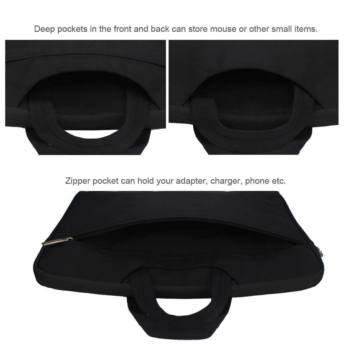 Arvok 15 15.6 Inch Multi-Color & Size Water-resistant Laptop Sleeve Bag with Handle/Notebook Computer Case/Ultrabook Briefcase Carrying Bag, Black by ARVOK (Image #7)