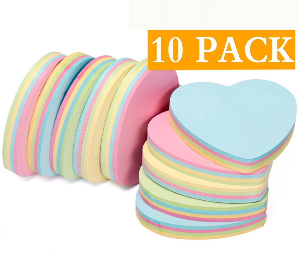 ZCHING Sticky Notes Self-Sticky Notes,100 Sheets/Pad, 10Pads/Pack in Box,Easy to Post for School, Business, Family,Great Office Supplies (Heart Shape)