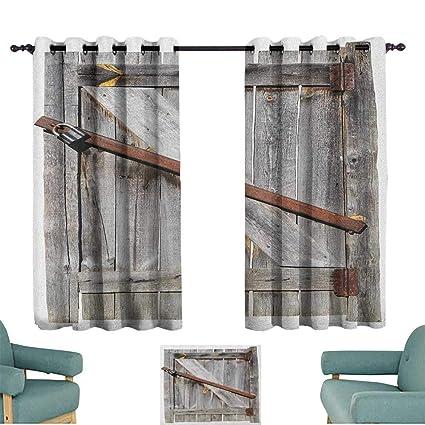 Amazon com: Rustic,Living Room Curtains Aged Wood Barn Door