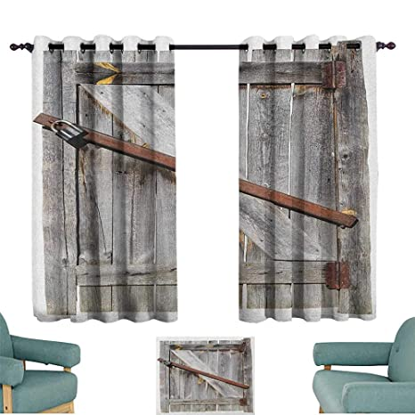 Amazon.com: Rustic,Living Room Curtains Aged Wood Barn Door ...