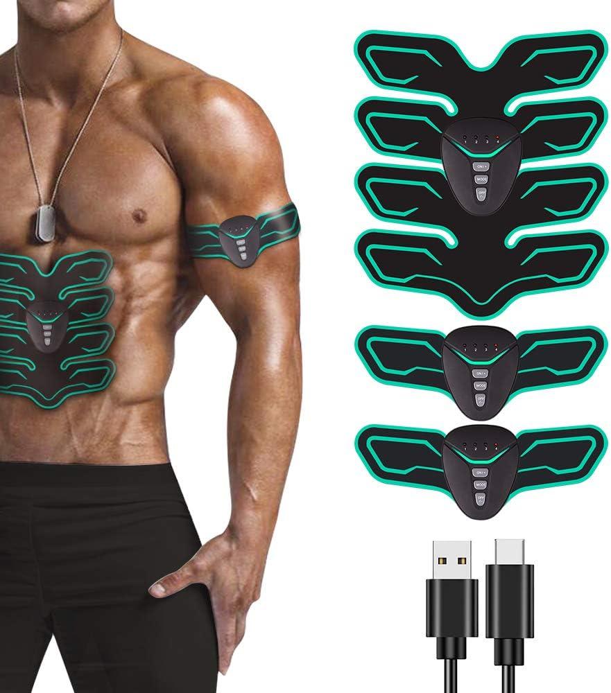 EMS Muskelstimulator Trainingsger/ät LED Anzeigebildschirm USB Wiederaufladbar Bauchmuskeltrainer ABS Stimulator f/ür Arm Bauch Beine zur Muskelaufbau und Fettverbrennung mit 20PCS Gel-Auflagen