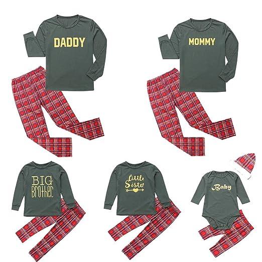 family matching christmas pajamas set letter print long sleeve tops plaid long pants homewear set at amazon mens clothing store