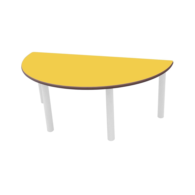 venta caliente en línea Mobeduc Infantil semicircular Mesa, Madera, Amarillo, tamaño 3, 3, 3, 120 x 60 x 59 cm  promociones de equipo