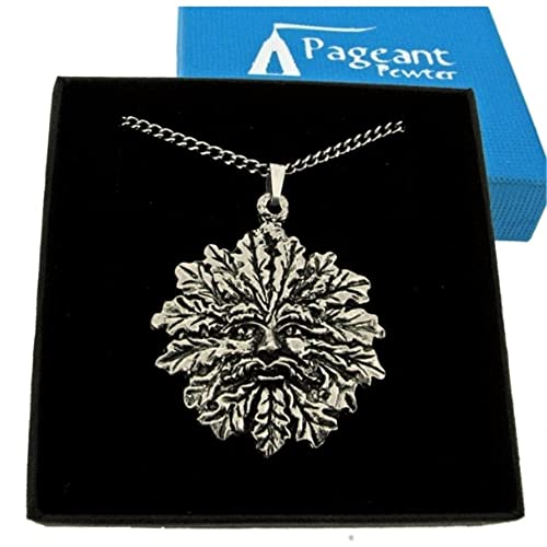 Fine Quality English Pewter Pendant Necklace Gift, Green Man Design - supplied Gift Boxed