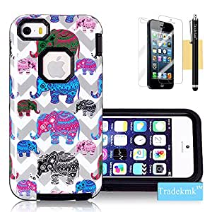 iPhone 5 Case, iPhone 5S Case, Tradekmk(TM) Brand New Latest Fashion Glossy In-Mold Decoration(IMD) TPU Gel Hybrid Bumper Durable Hard Back Case Cover[Gray Waves+Colorful Cartoon Elephants] Compatible with Apple iPhone 5/5S/5G[+Stylus+Screen Protector+Cleaning Cloth]-(Black)