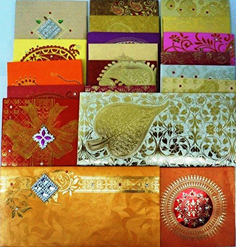 Festive Cards - Lightahead GIFT ENVELOPE CARD MONEY HOLDER FANCY PACKET FOR WEDDING ANNIVERSARY CHRISTMAS AND OTHER FESTIVE OCCASIONS SET OF 5 ASSORTED COLORS & DESIGN (set of 5)