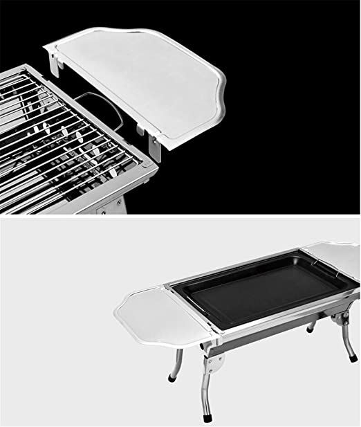 HomJo Barbacoa grill Parrilla de barbacoa portátil acampando al aire libre carbón de leña de acero inoxidable barbacoa plegable piernas a para Camping ...